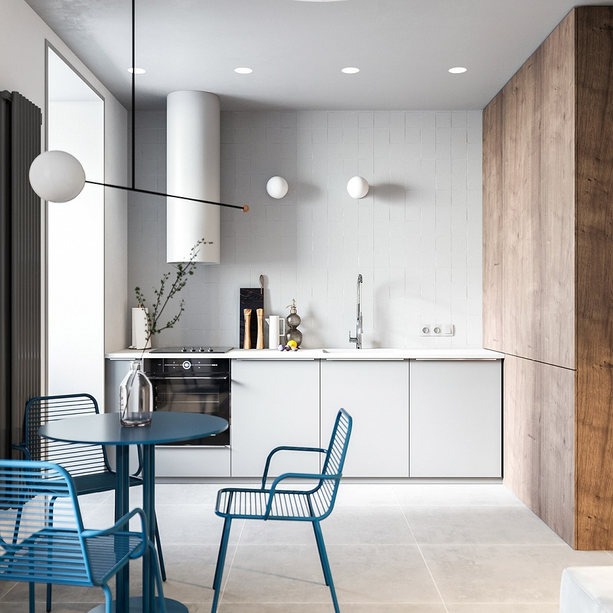 55 square metres house with blue and grey interior that either men or women can stay 4