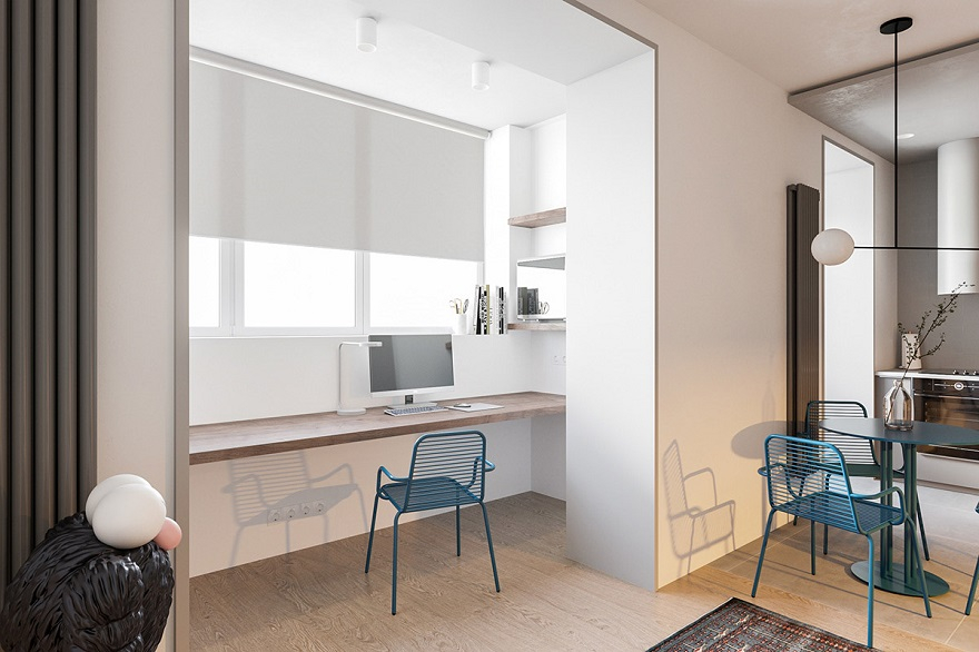 55 square metres house with blue and grey interior that either men or women can stay3