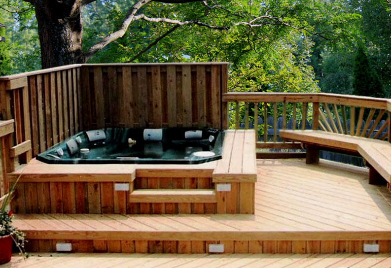 Hot tub deck privacy