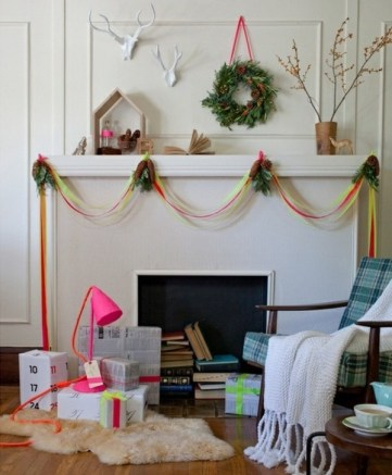 Diy-christmas-mantel-decoration-ideas-ribbons-pinecones-branches