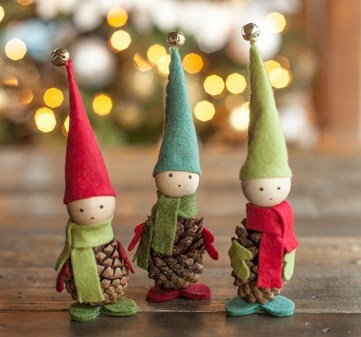 Felt-and-pine-cone-elves