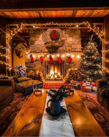 Rustic-style-living-room-decor-for-christmas.