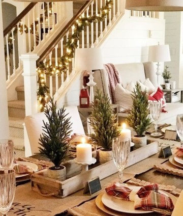 A-rustic-christmas-centerpiece-of-a-wooden-box-mini-trees-in-pots-and-pillar-candles-in-candleholders