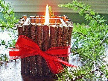 Rustic-christmas-decoration-ideas-diy-candleholder-twigs-red-ribbon