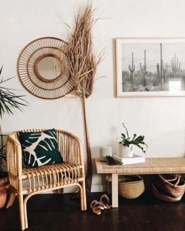 03-a-boho-desert-entryway-with-rattan-furniture-cacti-artworks-potted-plants-and-grasses