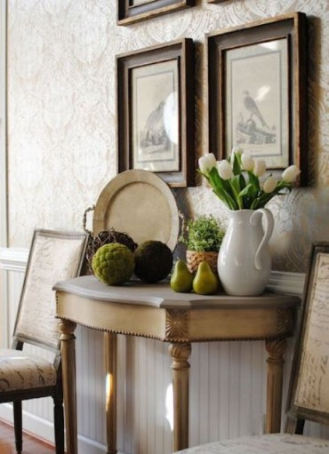 1 26-white-tulips-in-a-jug-moss-balls-potted-greenery-and-some-faux-pears-for-a-rustic-look