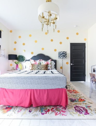 1 gold-polka-dots-a-pink-bed-cover-some-floral-bedding-make-the-space-feel-very-spring-like