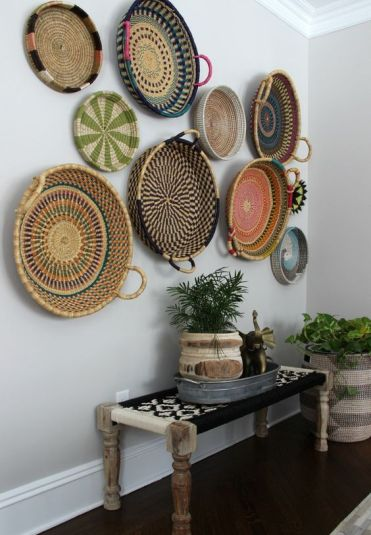 21-a-boho-woven-and-wooden-bench-an-arrangement-of-colorful-baskets-and-basket-planters