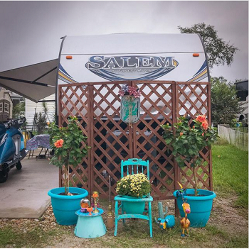 Add a privacy screen Good-Looking Campsite And Patio Decorating Ideas For All Types Of RVers