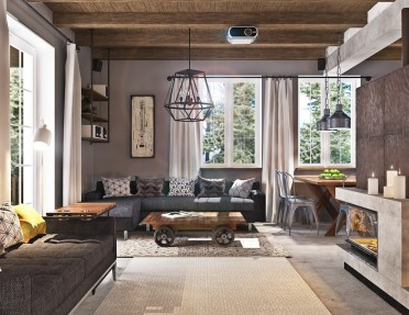 Exposed-wood-ceiling-fireplace-rustic-themed-living-room