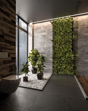 Floor to ceiling lush greenery wall