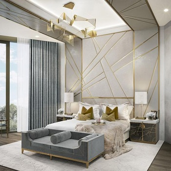 Bedroom with golden accent