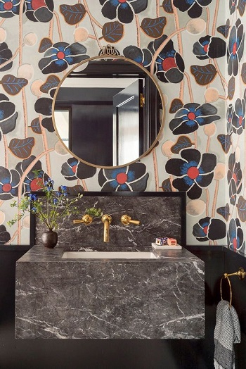 Black bathroom with floral touh