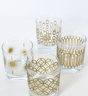 Diy metallic print glassware DIY Colored Creative Ideas To Update Your Glassware To The Next Level