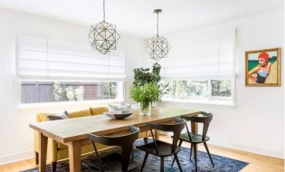 Glass and metal pendants for dining room