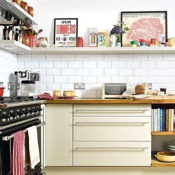 High shelf above splashback Utilitarian Contemporary Kitchen Floating Shelves Ideas For Best Additional Storage