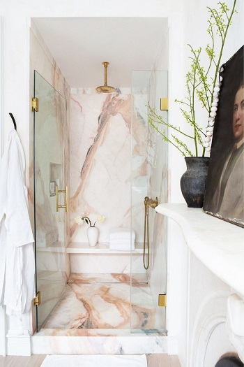 Pink marble wall shower room