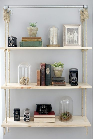 Pipes-and-rop-hanging-shelves
