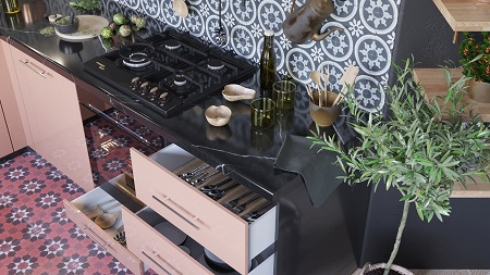 Pretty pink kitchen decor that timeless and chic with patterned tile backdrop 4