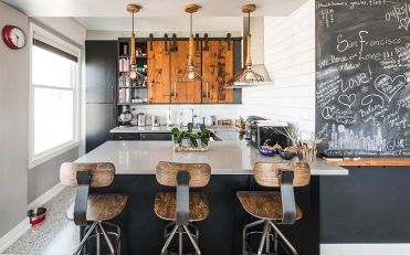 Reclaimed-wood-bar-stools-lighting-and-chalkboard-paint-give-the-kitchen-great-textural-contrast