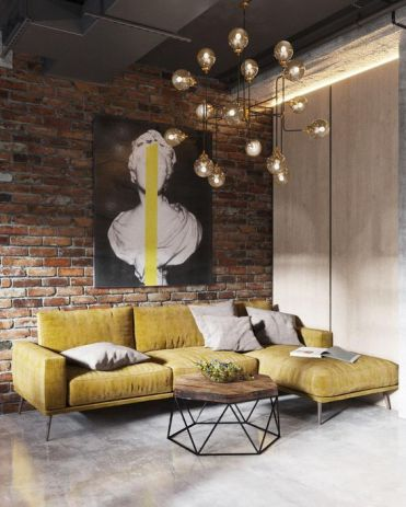 A-brick-wall-a-metal-ceiling-a-concrete-floor-makes-up-a-cool-base-for-an-industrial-living-room-and-a-bulb-chandelier-adds-to-it