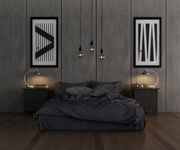 Grey-and-black-bedroom-two-matching-art-pieces-either-side-of-bed