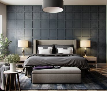 Grey-wallpaper-bedroom-textured-in-squares-chequered-1