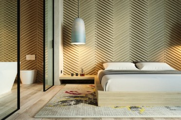 Textured-angled-bedroom-wall-beige-accent-wall-patterns