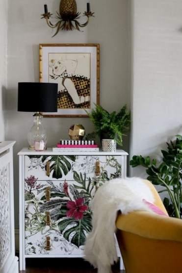 1-04-a-tropical-leaf-and-blooms-dresser-with-leather-and-metallic-handles