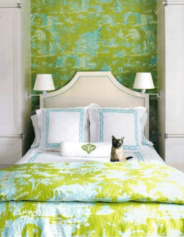 2-colorful-traditional-bedroom-with-matching-wallpaper-and-fabric