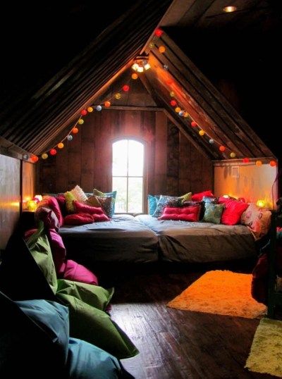 Bohemian bedroom with string lights
