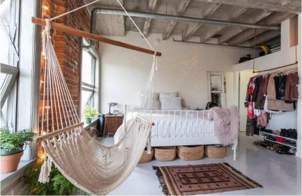 Industrial home decoration with exposed bricks