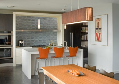 Kitchen with simple solid colors