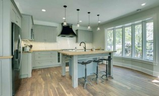 Rustic pale green kitchen