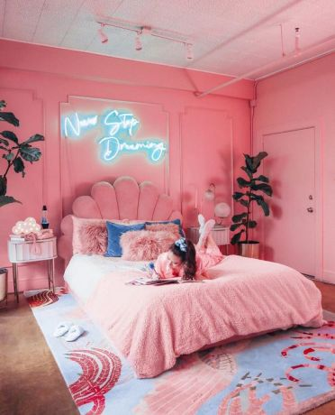 2-11-a-glam-pink-bedroom-with-bright-pink-walls-a-pink-upholstered-bed-and-pink-nightstands-plus-a-whimsy-rug-with-pink