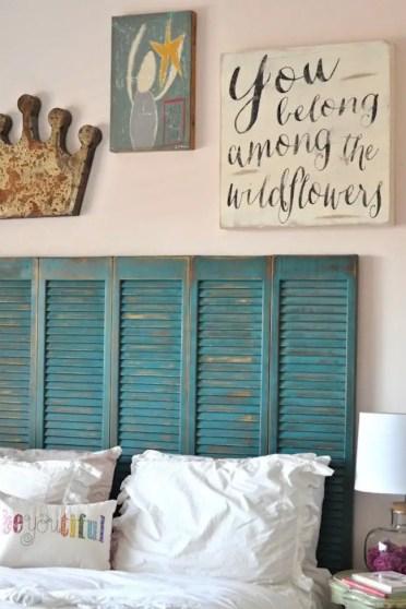 2-beautiful-turquoise-shutters-repurposed-as-a-headboard