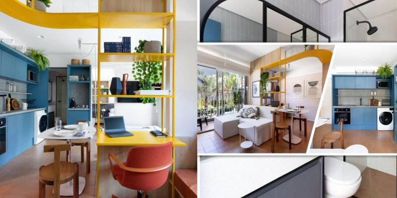 Apartment interior design in 37 m² area with a tiny home office nook2