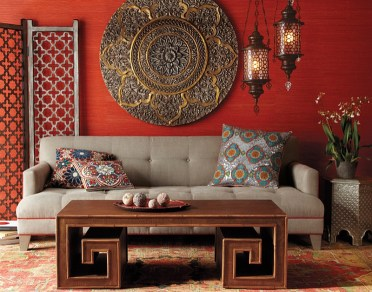 Bamboo-coffee-table-and-ornate-details-shape-this-chic-living-room-in-bold-colors