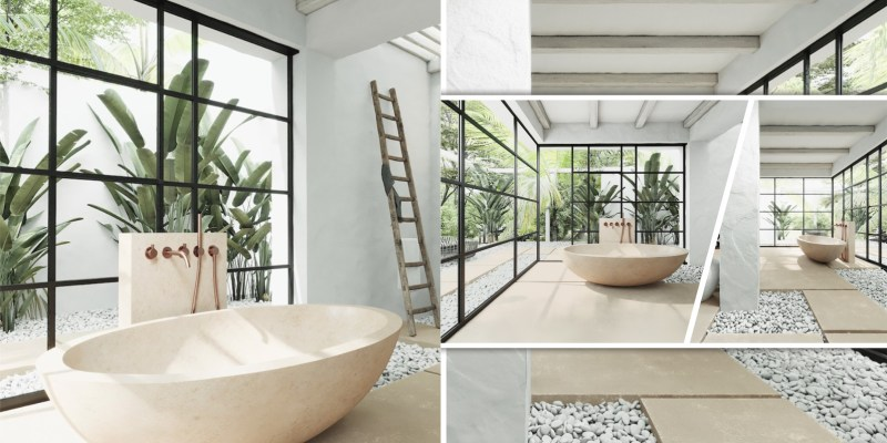 Vast bathroom design with naturally inspired adventure for a serenity atmosphere fi