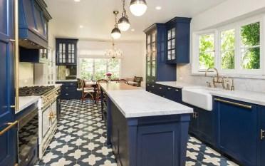 Zoey-deschanel-blue-kitchen-cabinets