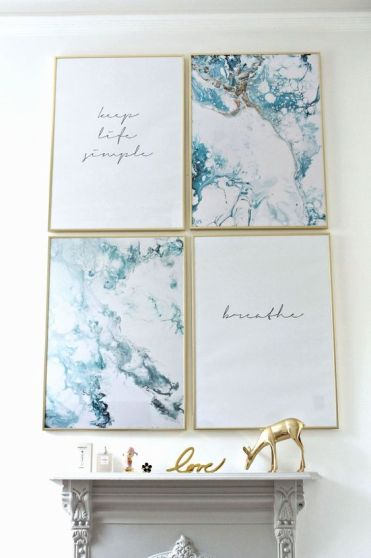 07-teal-marble-and-quote-prints-in-frames-are-a-simple-and-beautiful-wall-decor-idea