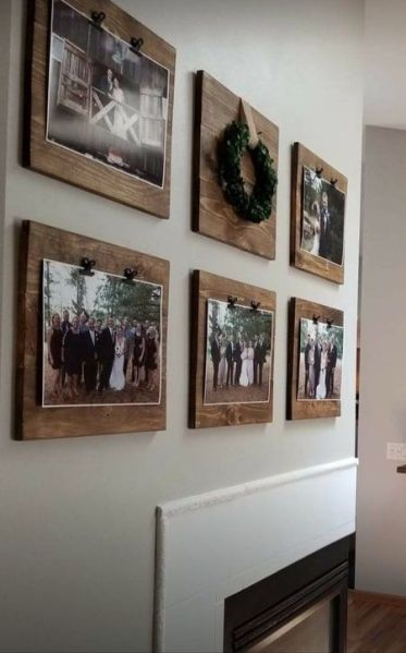 1-a-rustic-gallery-wlal-with-photos-attached-to-wooden-planks-is-a-stylish-and-cozy-idea-of-decor
