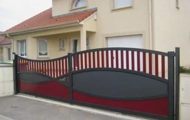 Modern-metal-garden-gates-sliding-gate-electric-drive-black-red-colors