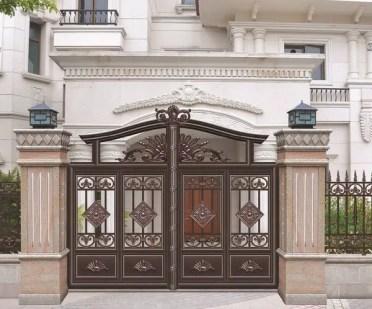 Elegant-metal-garden-gates-ornate-wrought-iron-gates-house-exterior-design-ideas