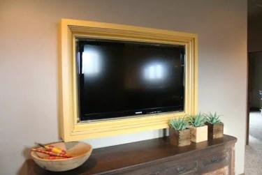 Yellow-wall-mounted-frame-tv
