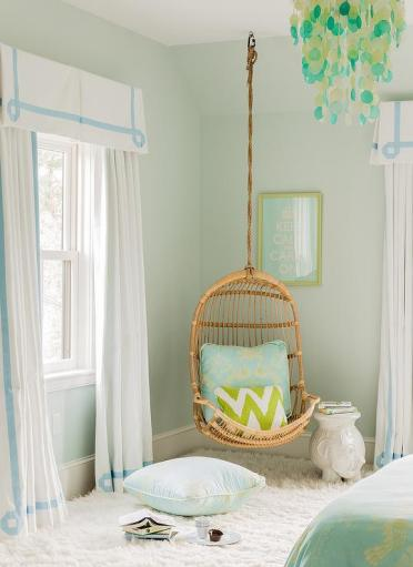 Blue-and-green-teen-girls-room-greek-key-curtains-hanging-chair