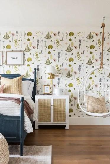 Girls-room-white-hanging-rattan-chair