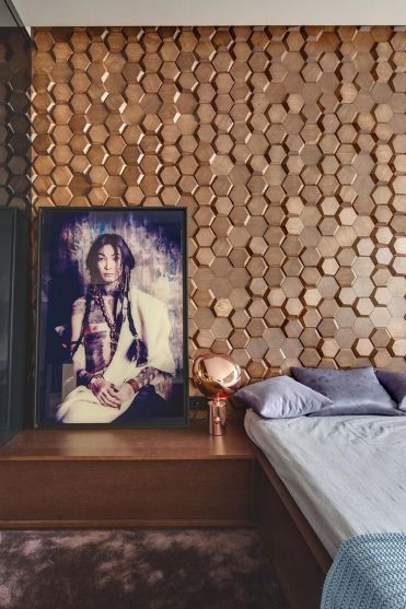 Hexagonal-wood-tile-accent-wall-ideas-for-your-bedroom