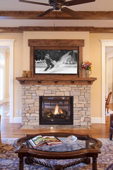 Living-room-design-ideas-stone-fireplace-frame-for-tv-round-coffee-table
