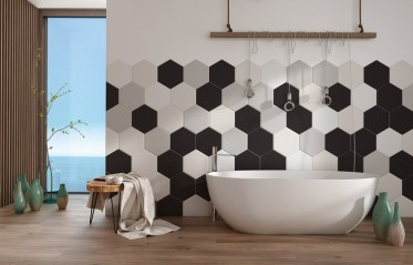 Modern-bathroom-ideas-honeycomb-tile-wall-decoration